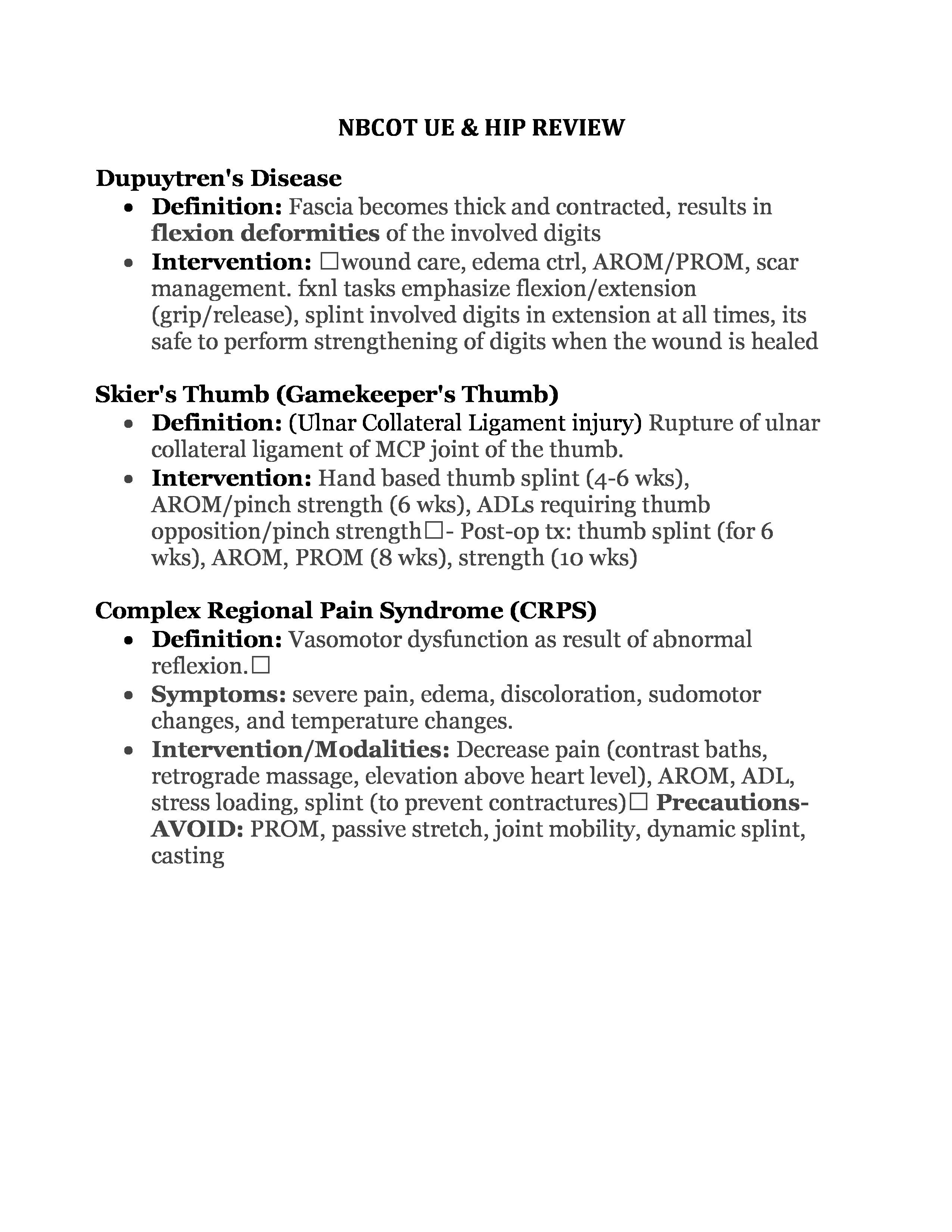 nbcot ue & hip review page 1 | nbcot exam prep | pinterest