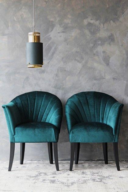 The Lovers Velvet Chair - Ocean Deep Green #artdecointerior