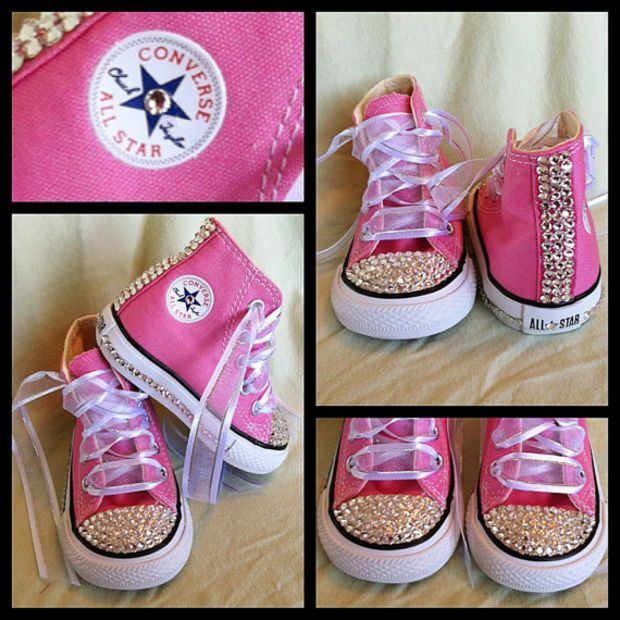65ad43b0b601 Pink Blinged Out Chuck Taylor Converse Sneakers | fashion | Baby ...