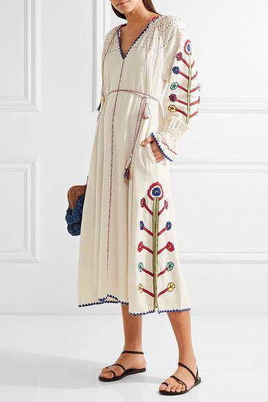 ULLA JOHNSON Natalia crochet-trimmed embroidered silk-noil midi dress |  $616 | Ecru