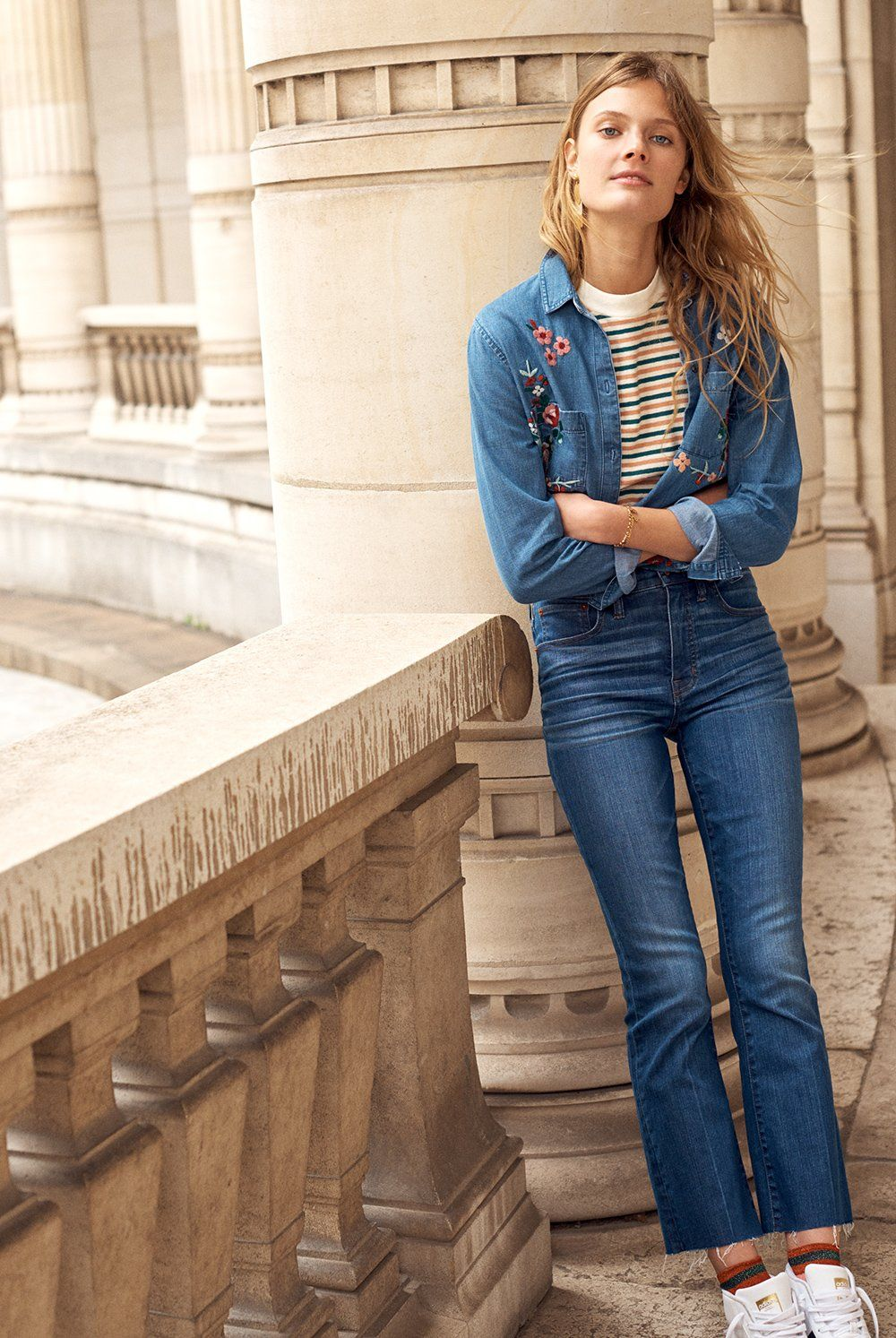 1c4111bc29 madewell cali demi-boot jeans worn with the embroidered cutoff denim shirt  + retro tee.