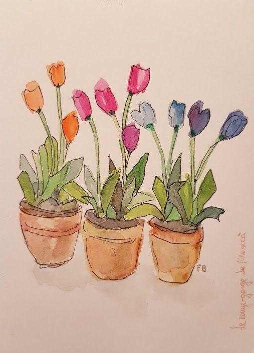 Hip Hip Tulipes Dessin De Fleur Aquarelle Facile Peinture A L