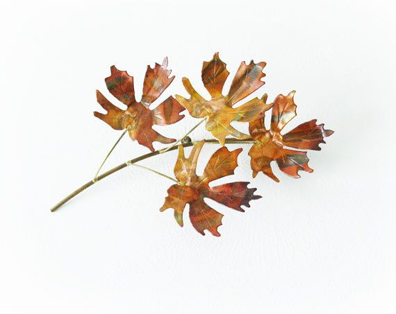 Vintage 70s Copper Leaf Branch Metal Art Patina Leaves
