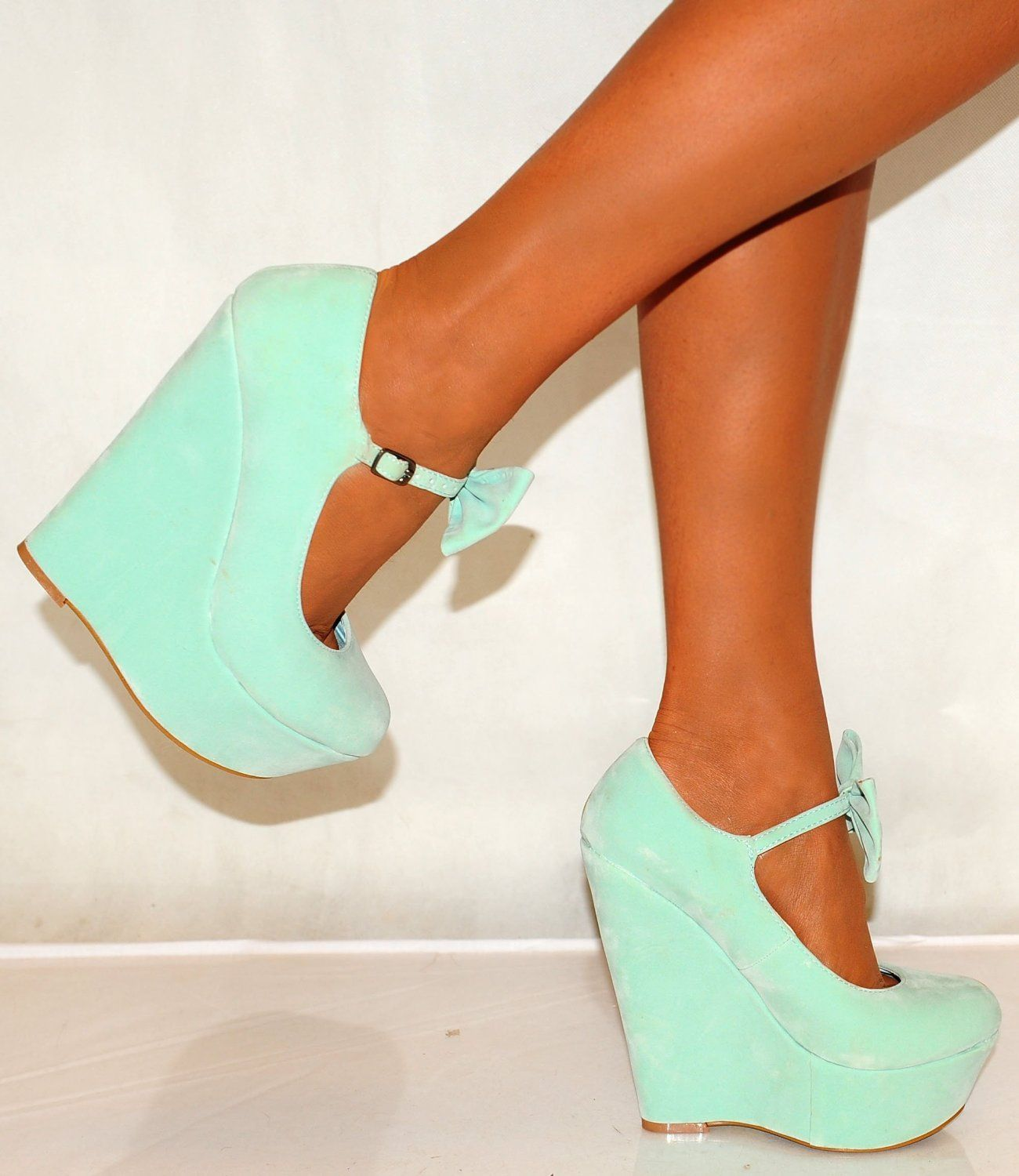 Ladies Womens Faux Suede Mint Green Faux Suede Bow Detail High Heels  Platforms Shoes Wedges 3