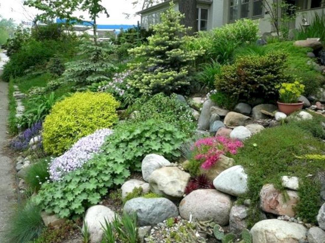 40 Marvelous And Popular Rock Garden Design For Your Front Yard