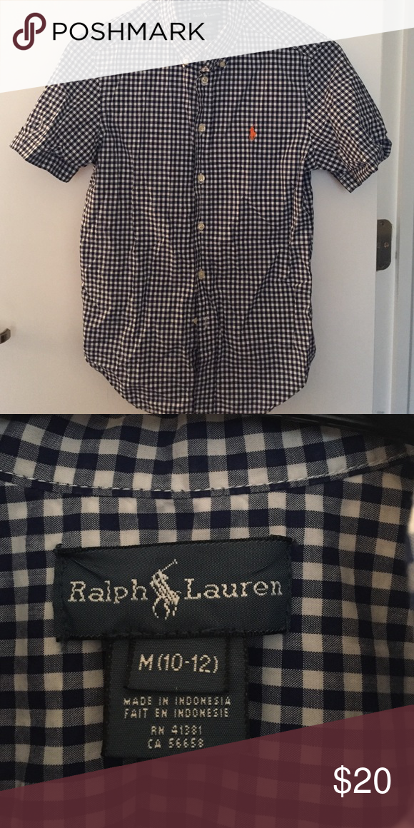 Super cute plaid button down Baby blue plaid button down with orange horse. In great condition. Worn once Shirts & Tops