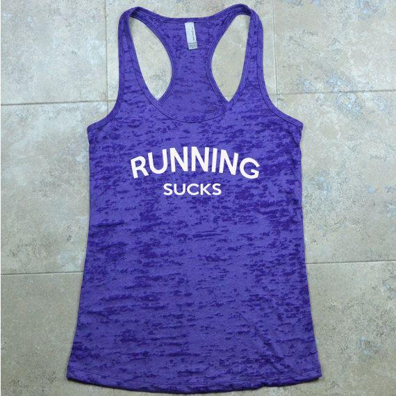 Funny Running Top - Running Sucks - Purple Burnout Tank Top - Hate Running - Burnout Marathon Tank Top. Workout Shirt. Exercise Tank Top.
