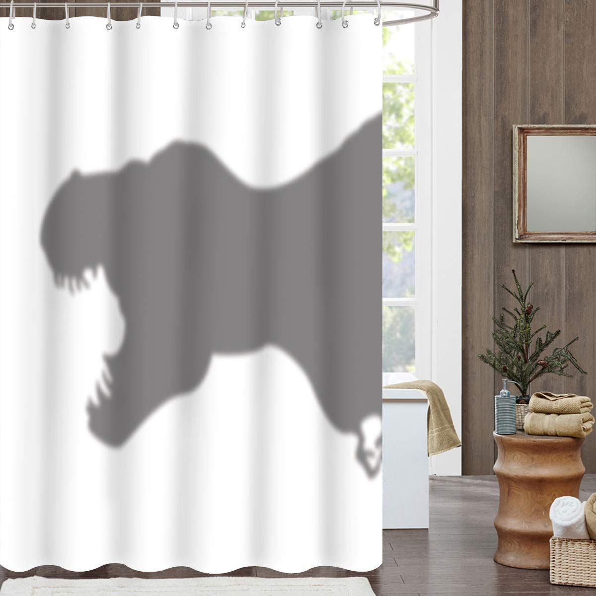 Charmhome Funny Dinosaur Shadow Shower Curtain Polyester Fabric