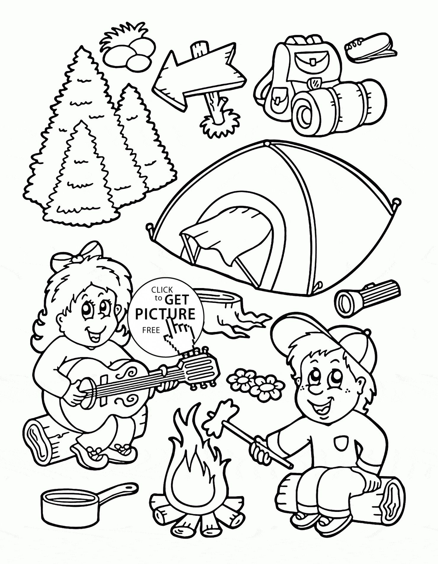 Coloring Pages For Summer Camp Free Http Www Wallpaperartdesignhd Us Coloring Pages F Camping Coloring Pages Free Printable Coloring Preschool Coloring Pages