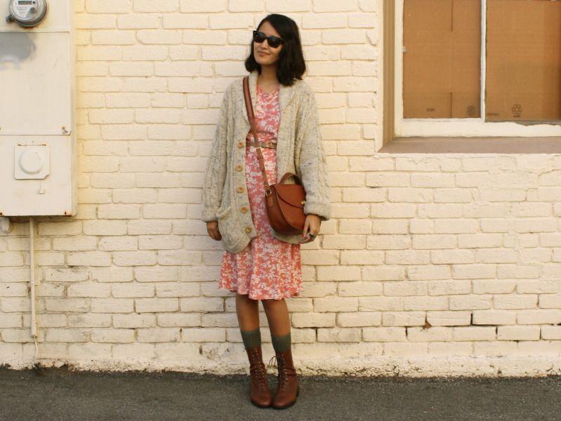 big cardigan + pink dress + lace up boots + gray socks + cross body bag