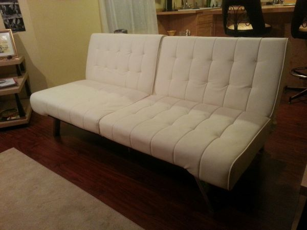 Medium image of clean white modern futon couch    80 craigslist