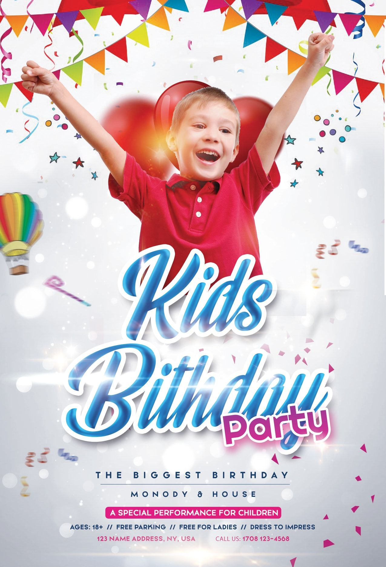 Birthday kids event download free psd flyer template