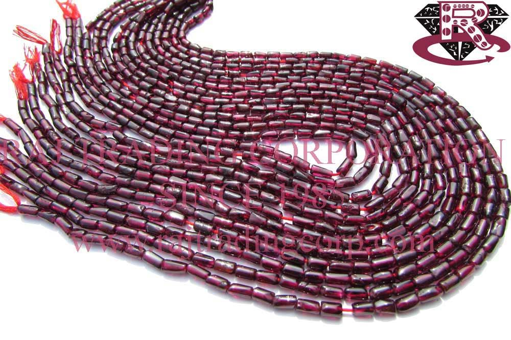 Garnet Smooth Tube (Quality B) Shape: Tube Smooth Length: 36 cm Weight Approx: 10 to 12 Grms. Size Approx: 3.5x5 to 3.5x6.5 mm Price $2.40 Each Strand
