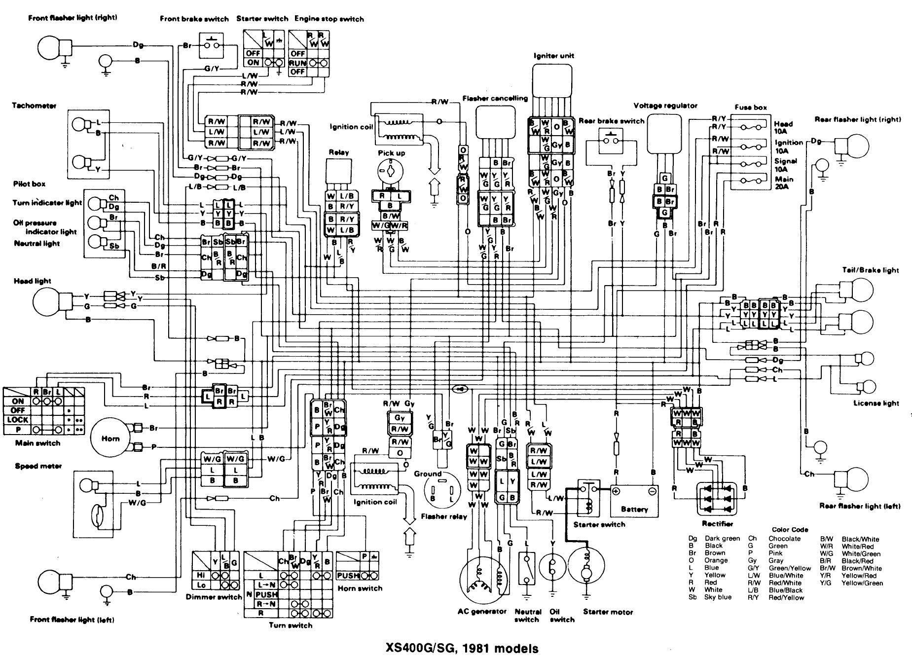 xs400 cafe wiring diagram
