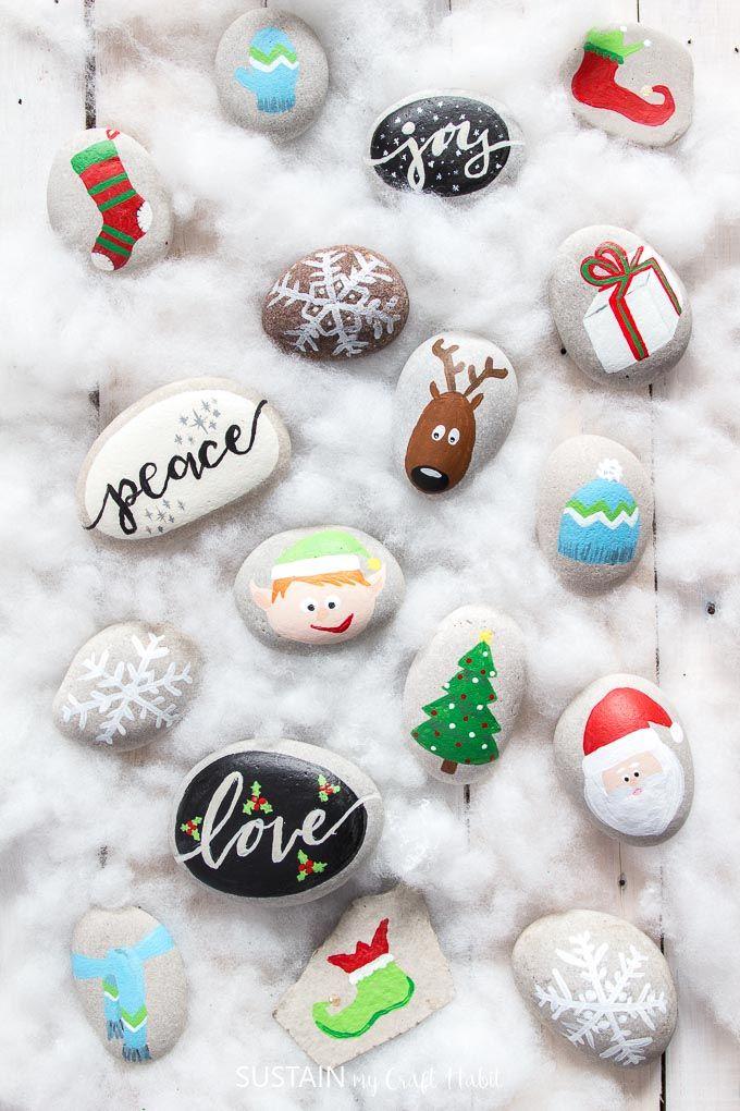 Festive Christmas Rock Painting Ideas Painted rocks kids