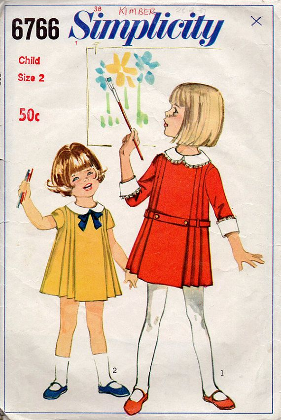 1960s Girl\'s Pleated Dress Vintage Sewing Pattern - Simplicity 6766 ...