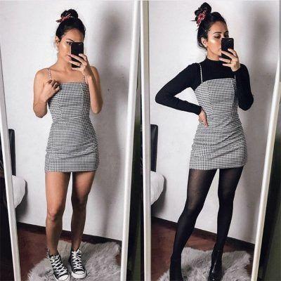 Schwarz gestreiftes Kleid – Schwarz gestreiftes Kleid Twinkle Schwarz Cleo Sandalen – …