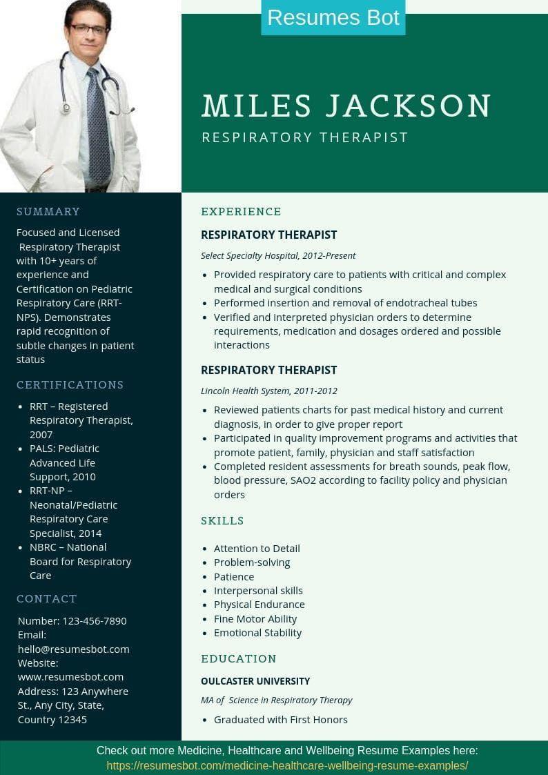 Respiratory Therapist Career Respiratory Therapist Resume Doctor Resume Medical Resume Templ Medical Resume Template Medical Resume Respiratory Therapist