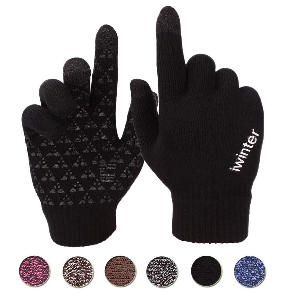 Men Women Winter Warm Antiskid Fleece Lined Thermal Knitted Gloves Touchscreen