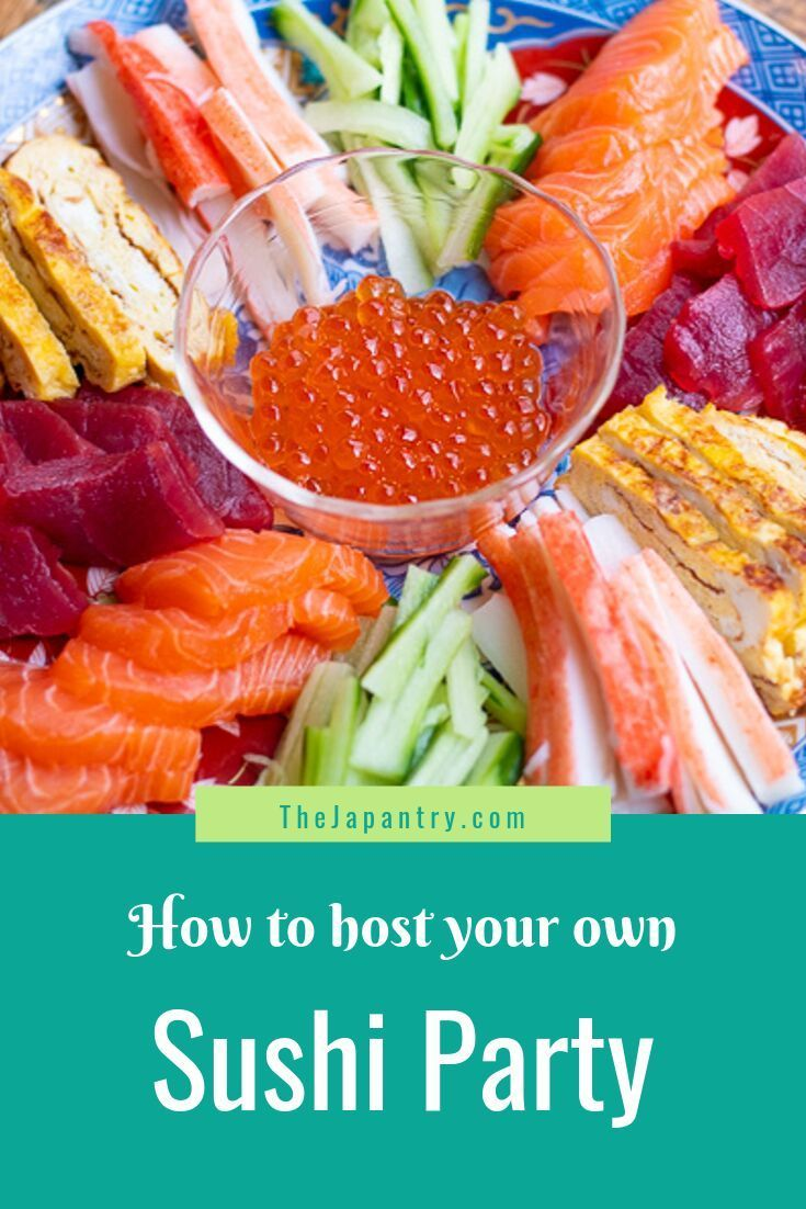 Hosting your very own sushi party can be easy and fun! Learn all the tips on how to set up your sushi party while keeping the cost down. Lots of vegetarian options, too! #sushi #japanesefood #japaneserecipe #party