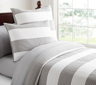 Rugby Stripe Quilted Bedding | Striped quilt, Grey bedding, Quilt