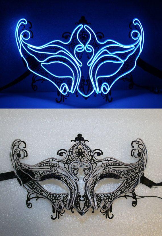 EL Wire Mask, Black Masquerade   JWR Designs (qitawear.com ...