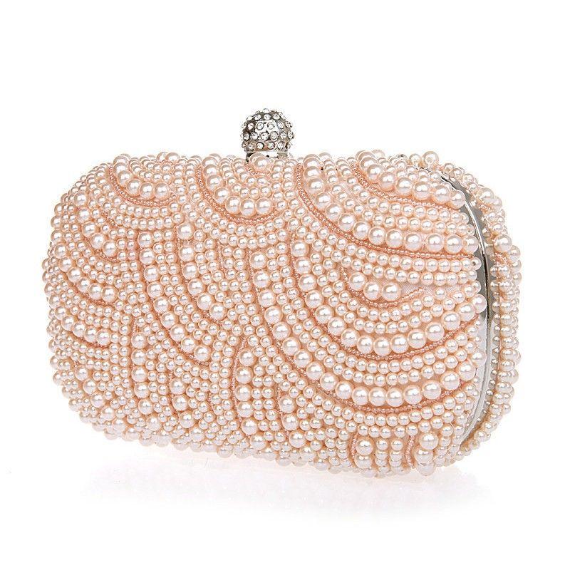 Bolso joya de fiesta con perlas rosas de imitación cositas a