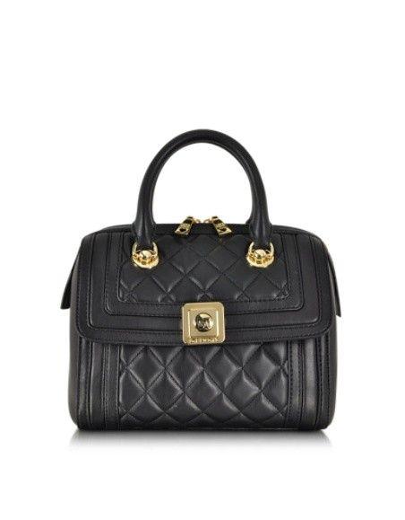 Love Moschino Black Quilted Eco Leather Satchel W Shoulder Strap Handtaschen Chloe Kollektion