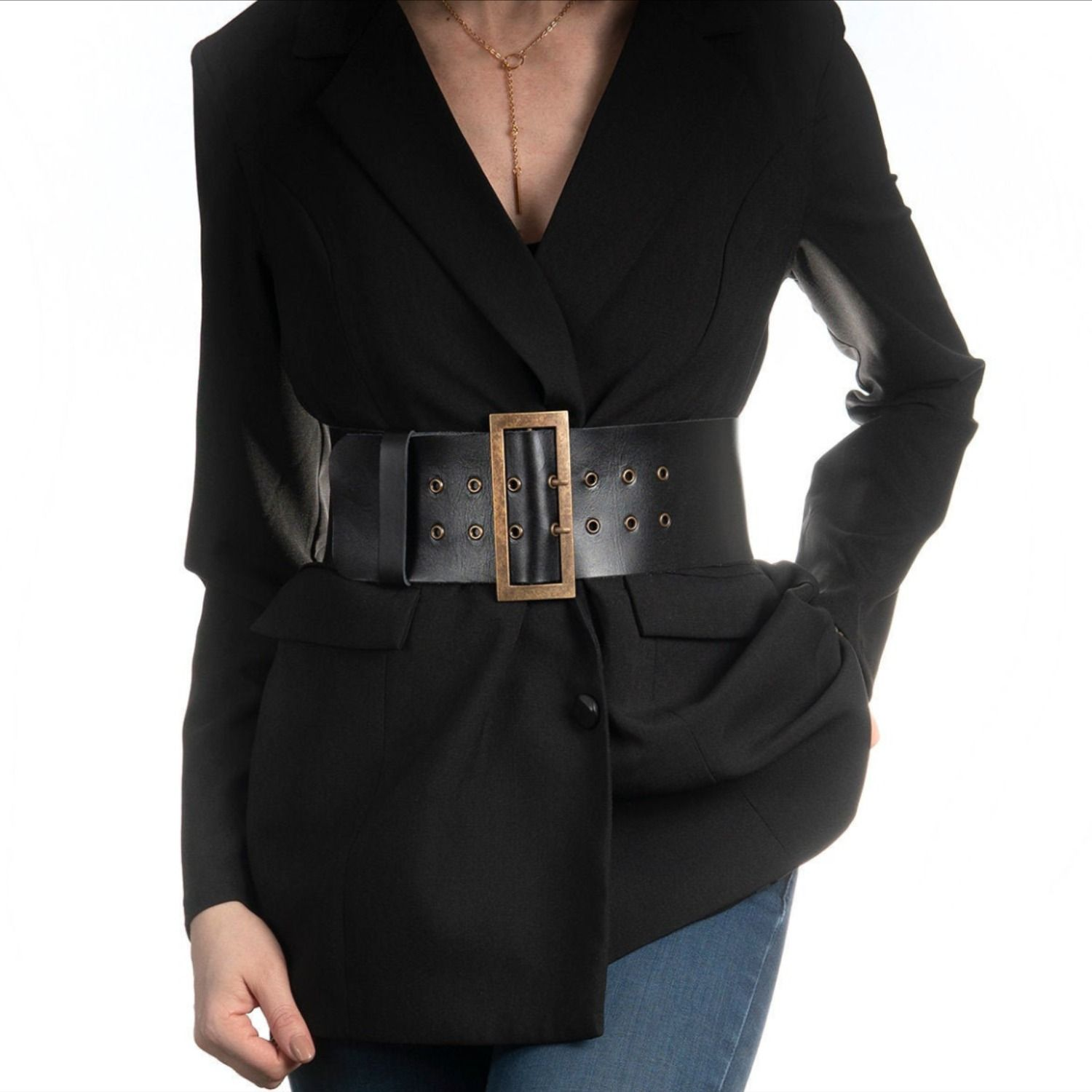 Black wide leather belt natural leather corset high waist