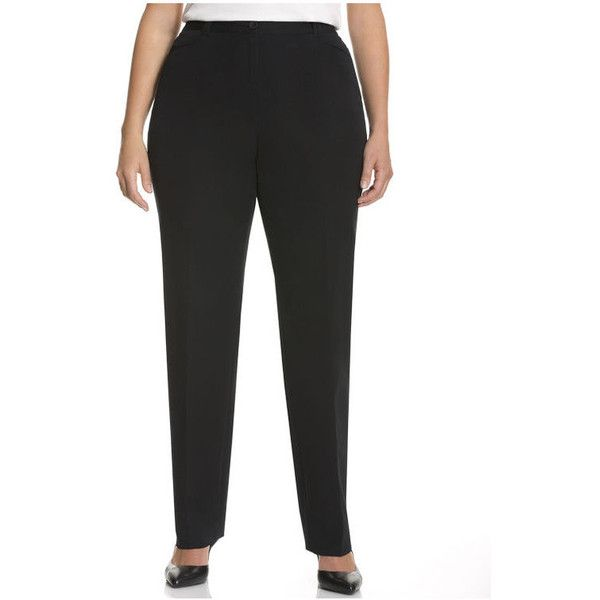 Lane Bryant Plus Size Lena Cotton Smart Stretch Straight Leg Pant 50 Liked On Polyvore Featuring Pants Black Black Cotton Pants Stretch Clothes Design
