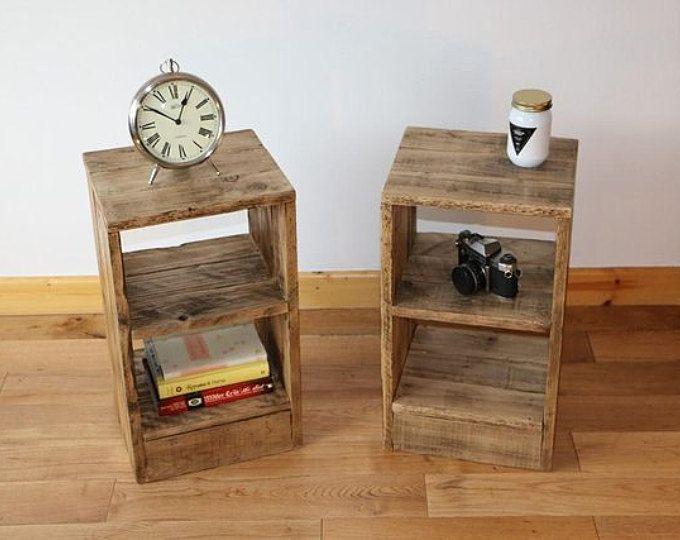 table de chevet rustique table de chevet fabriqu partir de bois de palettes rcupres - Table De Nuit Rustique
