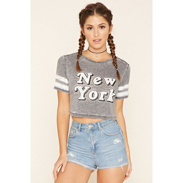 Forever 21 Women's New York Graphic Burnout Tee ($13) ❤ liked on Polyvore  featuring