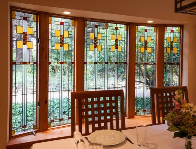 Arts And Crafts Stained Glass Window Film Frank Lloyd Wright Stained Glass Craftsman Style Decor Glass Design