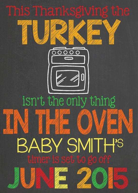 Thanksgiving Pregnancy Announcement turkey by InJOYPrints on Etsy
