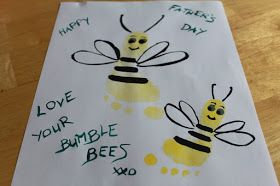 Helpful Daddy: Footprint Bumblebees for Daddy on Father's Day