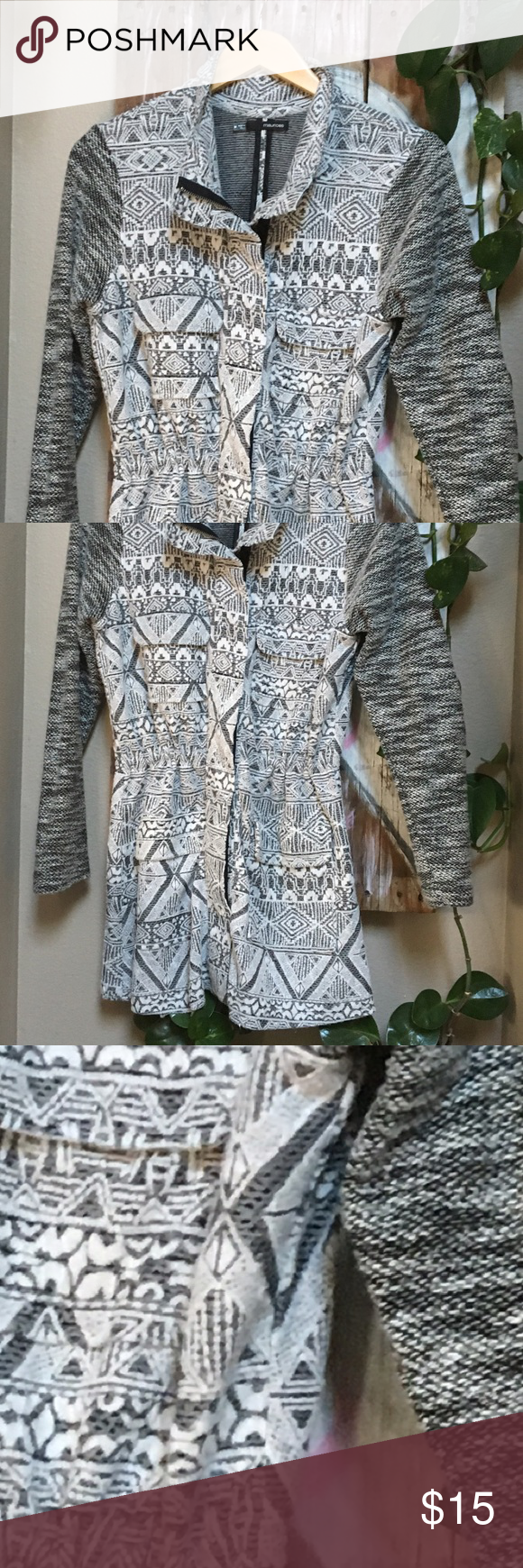 Maurice's light anorak type jacket Gray and white native style light layering jacket.. worn a couple of times and hung to dry. Does have some balling... very cute and light! Maurices Jackets & Coats Blazers