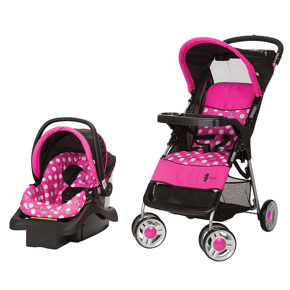 Car Seat Stroller Travel Set Disney Minnie Mouse Polka Dot