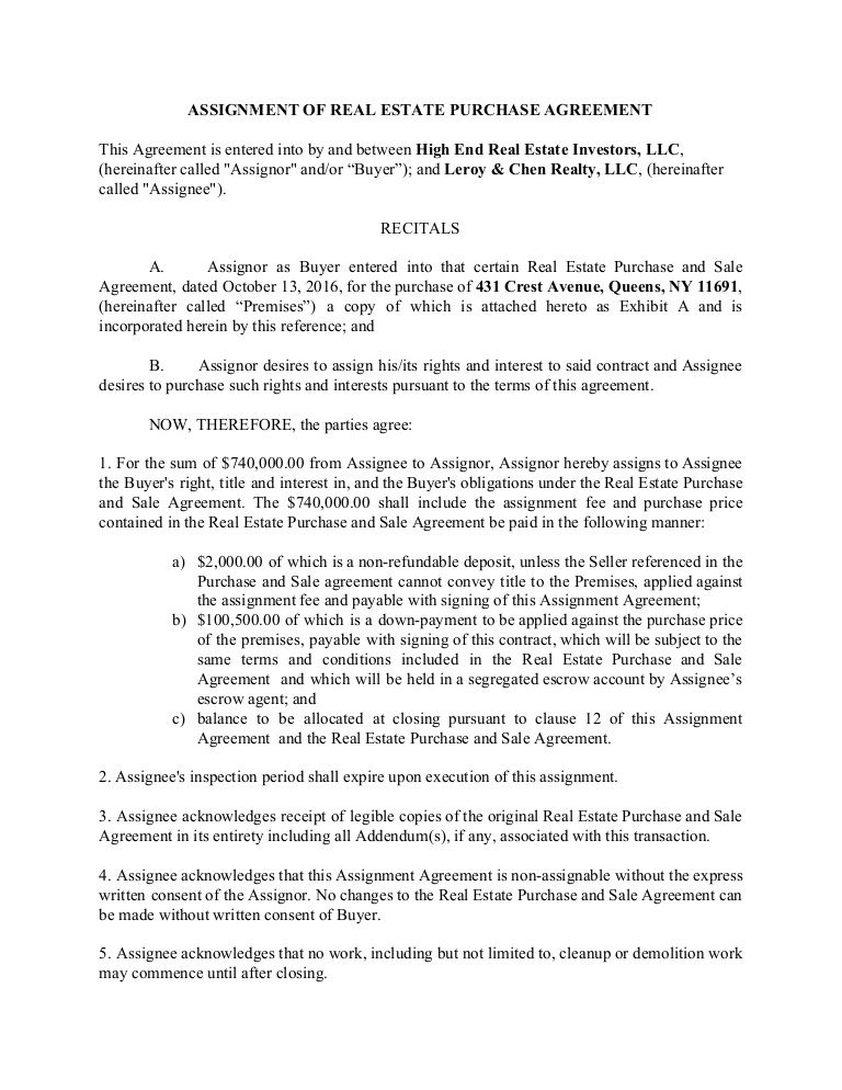 Assignment Of Real Estate Purchase Agreement For Use By Wholesalers Disclaimer Attorney Advertising No Wholesale Real Estate Contract Template Real Estate