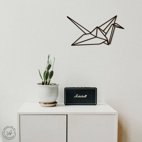Photo of Metal Wall Art Origami Crane  Flat geometric decal steel Interior Sign minimalistic decor Scandi sty