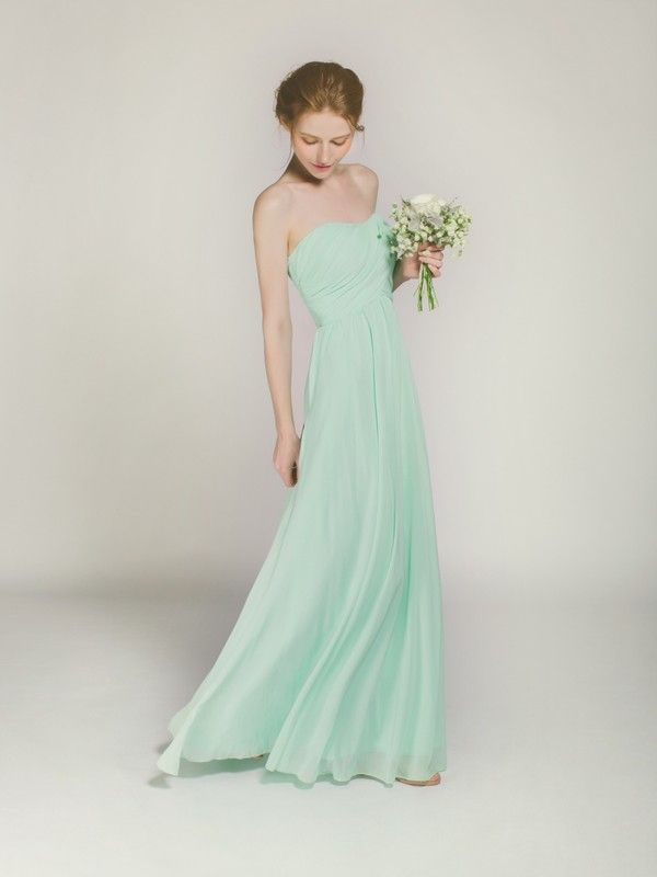 Long Mint Strapless Bridesmaid Dress In Chiffon Swbd007