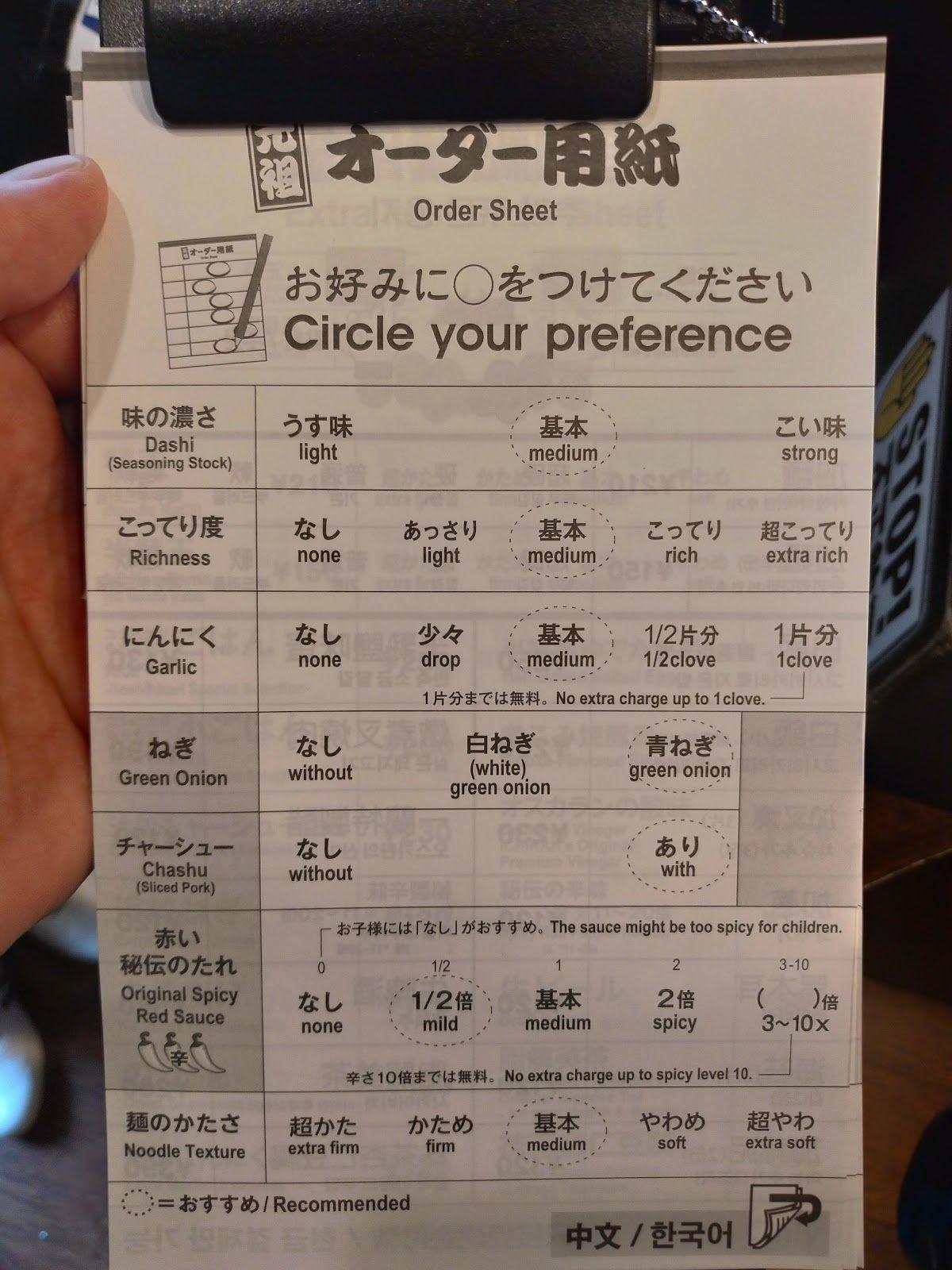 一蘭天神西通り店 一蘭のオーダー用紙 2021 とんこつ 福岡 ラーメン 秘伝
