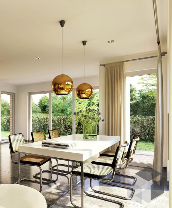 essplatz impression aus einem bien zenker haus mit edlen h ngelampen und schwingerst hlen auf. Black Bedroom Furniture Sets. Home Design Ideas