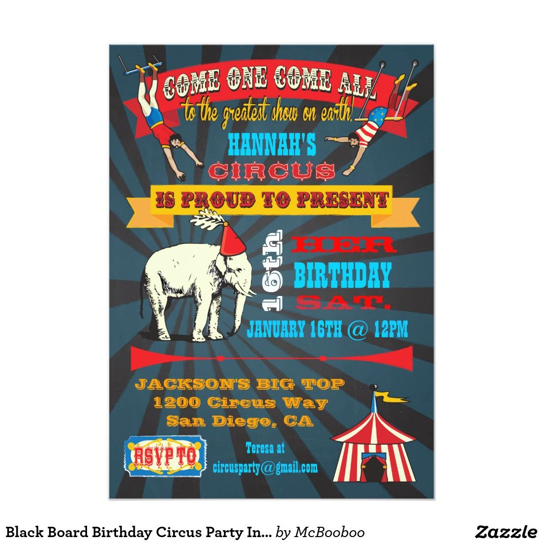 Black Board Birthday Circus Party Invitations  Circus Party