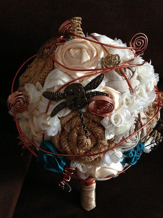 CUSTOM MADE Steampunk Wedding Bouquet by FlowersToHaveAndHold, $110.00