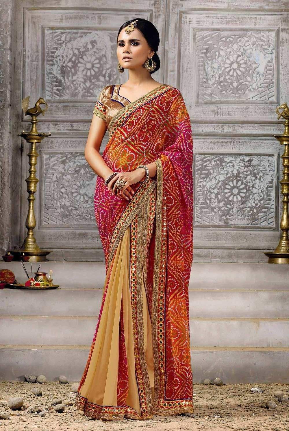 28fa66dd4f Multicolor #Jaipuri #bandhej #printed #saree with blouse | Bandhani ...