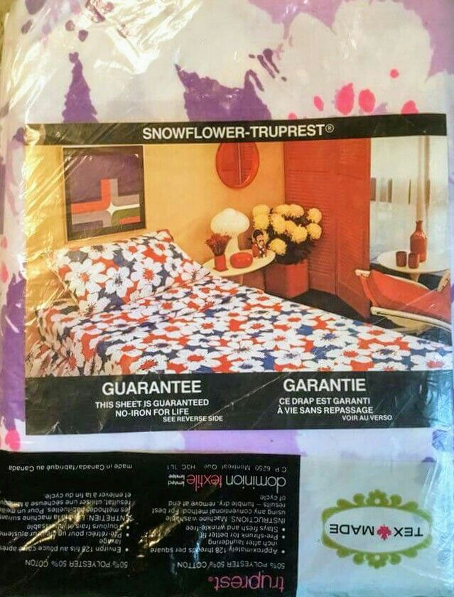 Vintage Texmade Truprest U0027Snowfloweru0027 Pattern Luxury Weave No Iron Bed  Sheets. 50%