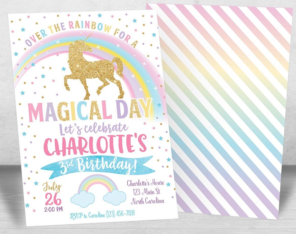 Unicorn Birthday Invitations, Unicorn Invitation, Unicorn Party ...