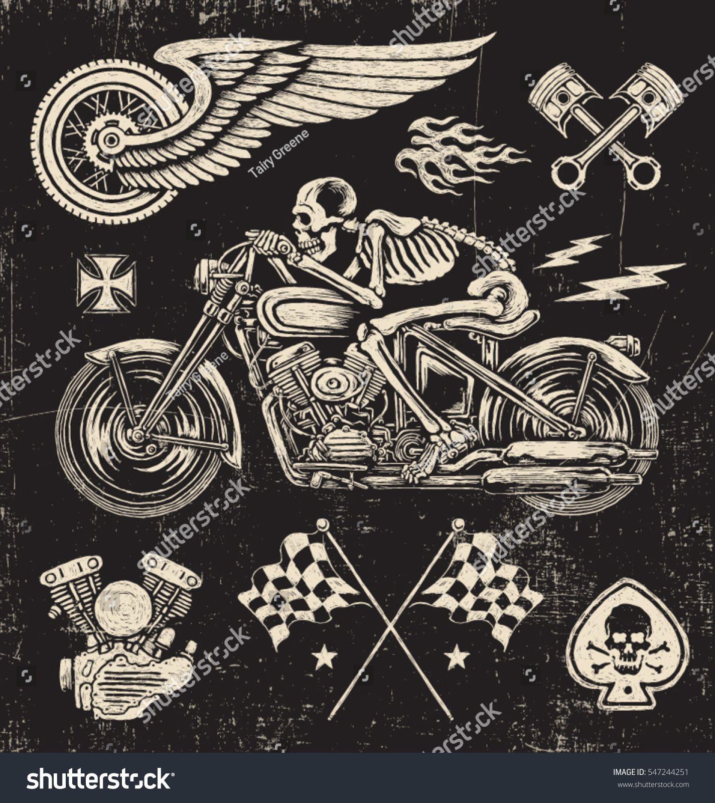 Scratchboard Motorcycle Elements Biker tattoos