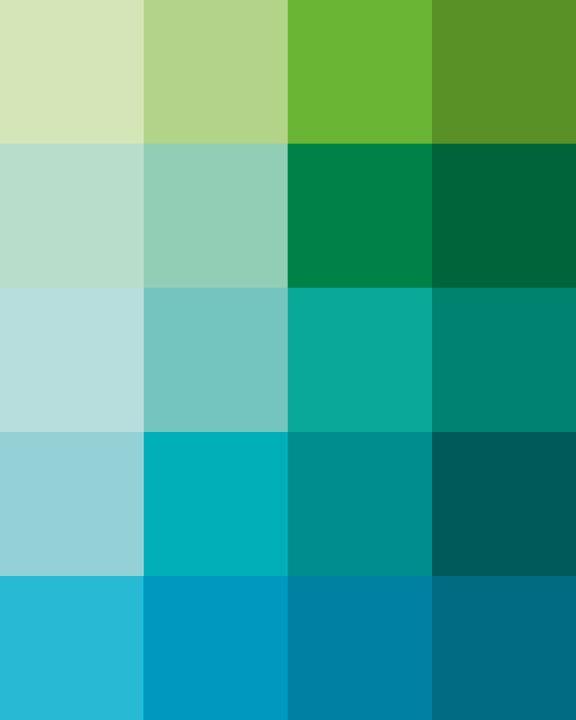 9dd6043b9457 Shades Dew Art Print - Pantone Color Blocks of Mint, Green, Aqua. $24.00,  via Etsy.