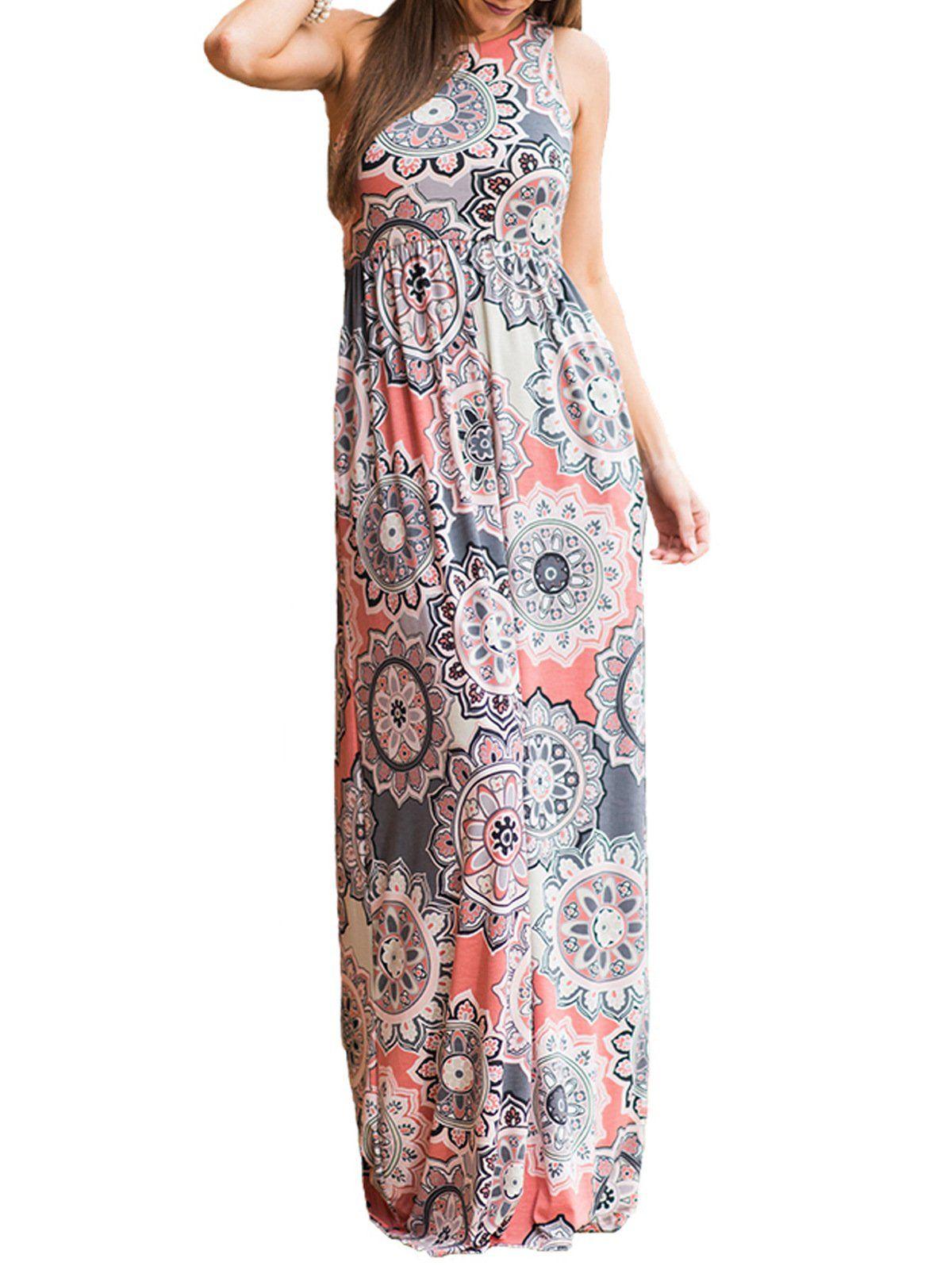 Swqzvt Women S Summer Bohemian Floral Dresses Sleeveless Pockets Racerback Scoop Neck Casual Long Maxi T Long Dress Casual Maxi Dress Empire Waist Dress Casual [ 1596 x 1200 Pixel ]